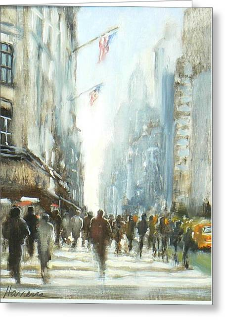 Recently Sold -  - People Paintings Greeting Cards - In Manhattan Greeting Card by Betsy Havens