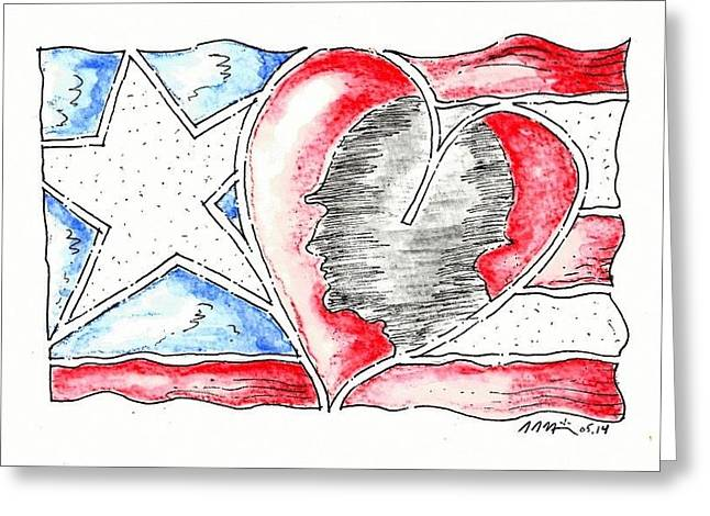 Military Hero Drawings Greeting Cards - In Memory and Honor Greeting Card by Jason Nicholas