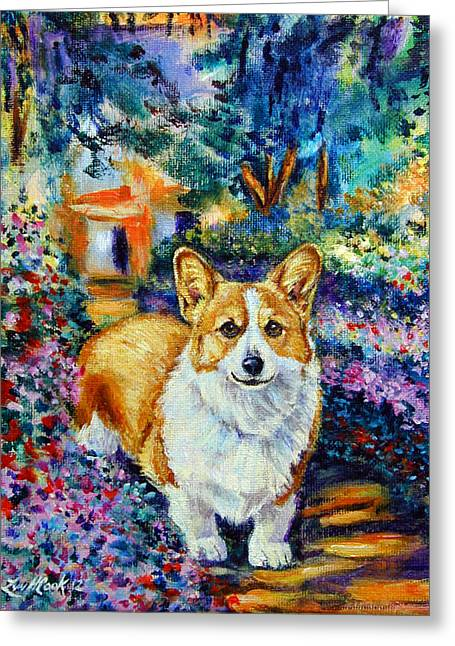 Herding Dogs Greeting Cards - In Monets Garden - Pembroke Welsh Corgi Greeting Card by Lyn Cook