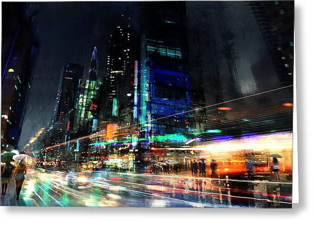 City Rain Greeting Cards - In Motion Greeting Card by Philip Straub
