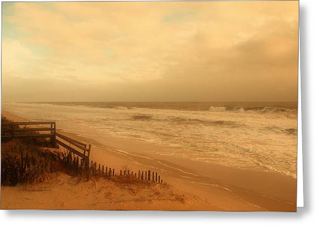 Fencing Greeting Cards - In My Dreams The Ocean Sings - Jersey Shore Greeting Card by Angie Tirado