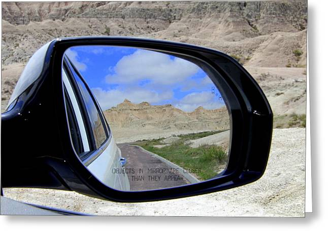 Layers Greeting Cards - In My Rear View Mirror Greeting Card by Frank Hearron