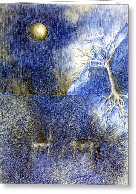 Vivid Colour Pastels Greeting Cards - In Night On Meadow  Greeting Card by Wojtek Kowalski