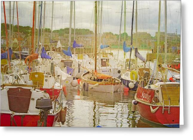 Docked Sailboat Greeting Cards - In North Berwick Harbour Greeting Card by Hal Halli