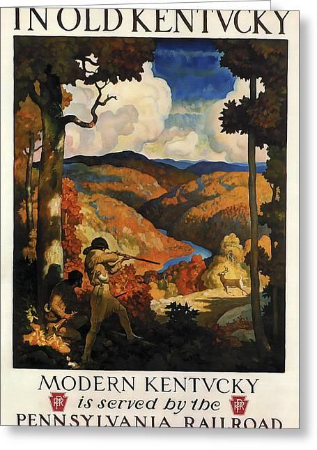 In Old Kentucky Vintage Travel 1930 Greeting Card by Daniel Hagerman