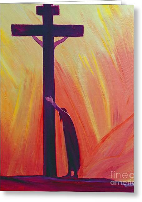 Jesus Greeting Cards - In our sufferings we can lean on the Cross by trusting in Christs love Greeting Card by Elizabeth Wang