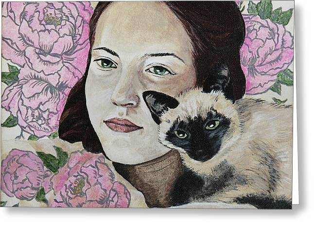 In Peonies With A Cat Greeting Card by Masha Batkova