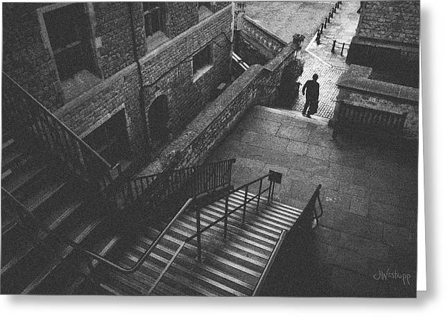 In Pursuit Of The Devil On The Stairs Greeting Card by Joseph Westrupp