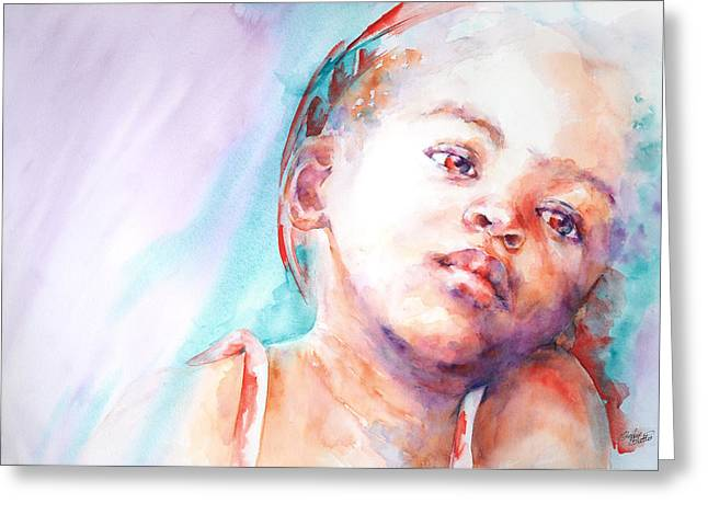 Watercolour Portrait Greeting Cards - In Silence Greeting Card by Stephie Butler