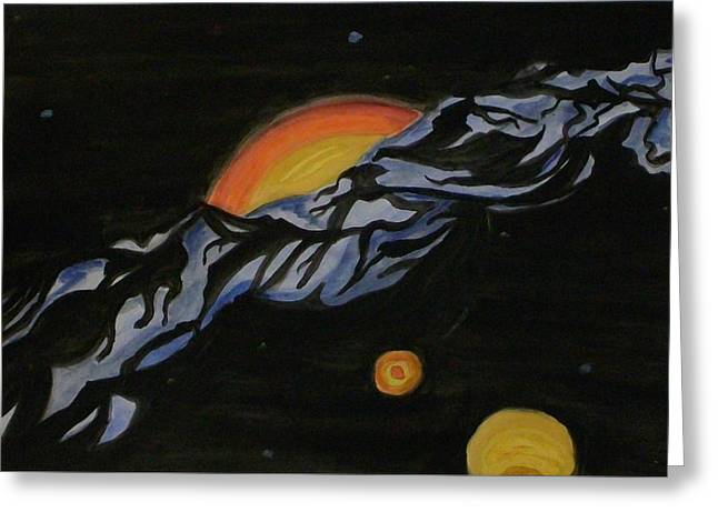 Outer Space Paintings Greeting Cards - In Space Greeting Card by Carolyn Cable