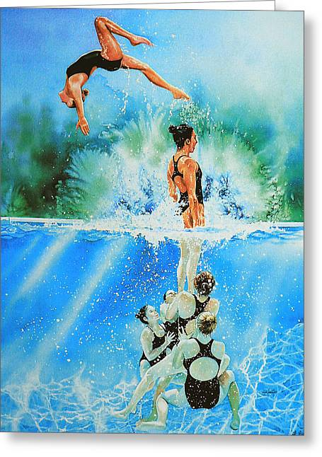 Sport Artist Greeting Cards - In Sync Greeting Card by Hanne Lore Koehler