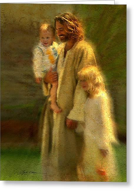 Jesus With Children Greeting Cards - In the Arms of His Love Greeting Card by Greg Olsen
