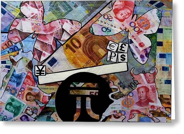 Wealth Mixed Media Greeting Cards - In The Balance Greeting Card by John  Nolan