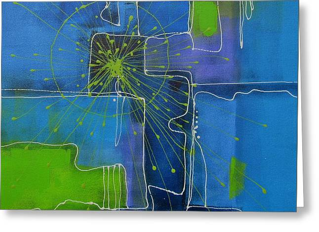 Green Abstract Greeting Cards - In the Beginning Greeting Card by Louise Adams