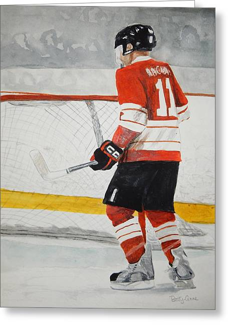 Hockey Net Greeting Cards - In The Blue Paint Greeting Card by Betty-Anne McDonald
