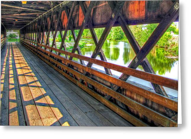 Indiana Landscapes Greeting Cards - In The Bridge Greeting Card by Jackie Novak