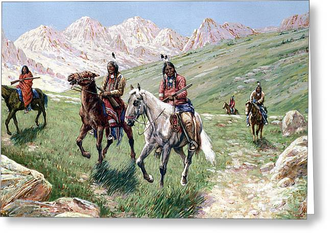 Indigenous Greeting Cards - In the Cheyenne Country Greeting Card by John Hauser