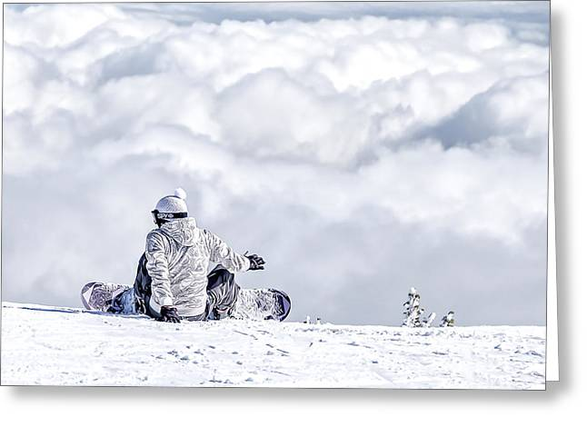 Snow Boarder Greeting Cards - In The Clouds Greeting Card by Maria Coulson