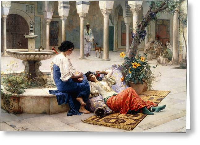 In The Courtyard Of The Harem Greeting Card by Max Ferdinand Bredt