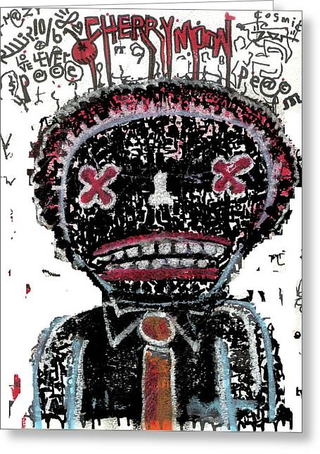Raw Contemporary Graffiti Greeting Cards - In The Dark Of The Night Greeting Card by Robert Wolverton Jr