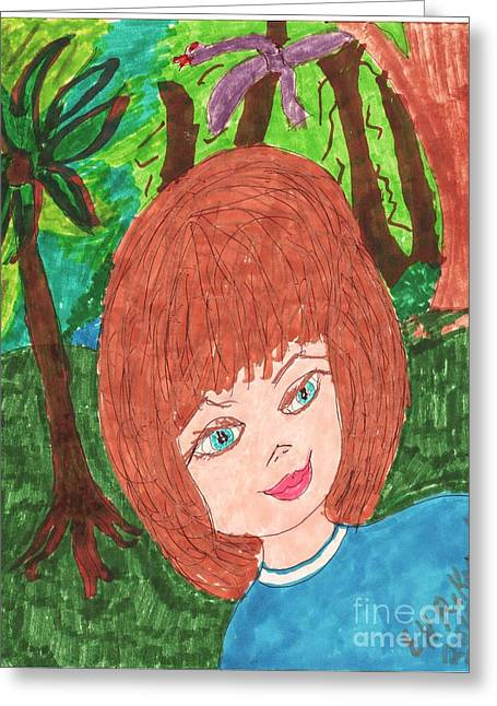 A Girl In A Wood Greeting Cards - IN The Deep Woods Greeting Card by Elinor Rakowski