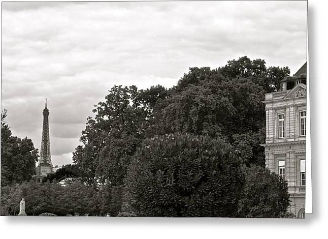 Gray Building Greeting Cards - In the Distance Greeting Card by Corinne Rhode