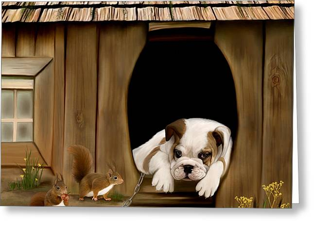 Dog House Greeting Cards - In the dog house Greeting Card by Thanh Thuy Nguyen