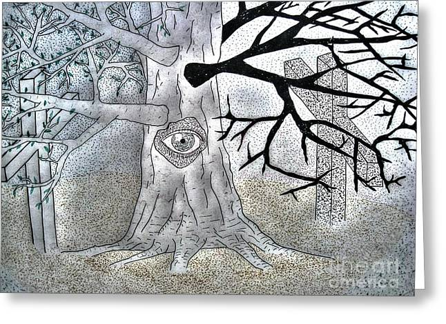 In-city Pyrography Greeting Cards - In The Forest The Tree Greeting Card by Yury Bashkin