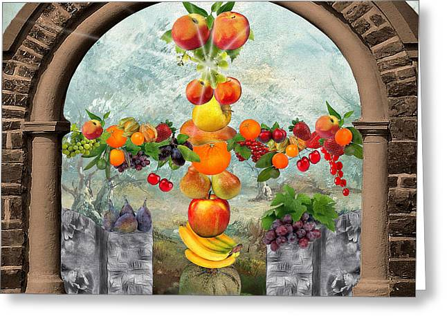 Fruit Tree Art Greeting Cards - In the Garden of Eden 3 Greeting Card by Manfred Lutzius