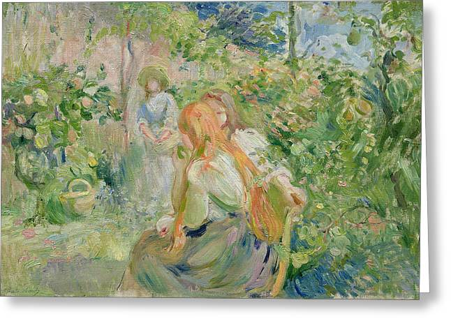 Le Jardin Greeting Cards - In the Garden at Roche Plate Greeting Card by Berthe Morisot