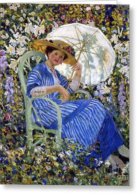 Fresco Greeting Cards - In the Garden Greeting Card by Frederick Carl Frieseke