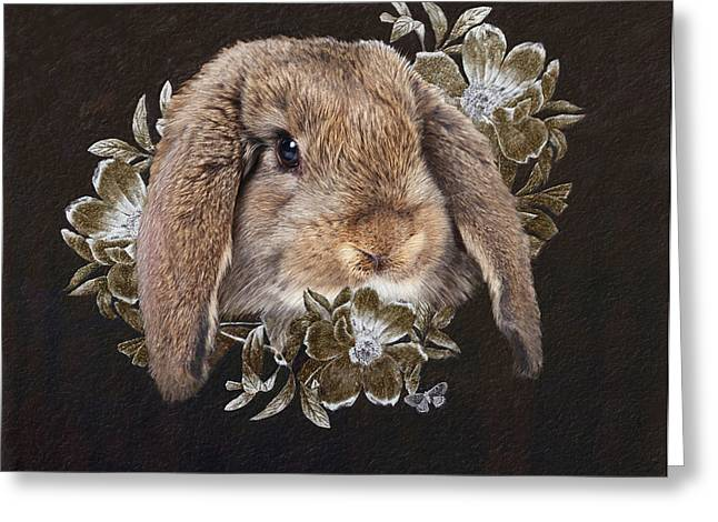 Rabbit Greeting Cards - In the Garden of Whispers Greeting Card by Enzie Shahmiri