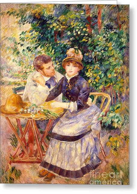Table Greeting Cards - In the Garden Greeting Card by Pierre Auguste Renoir