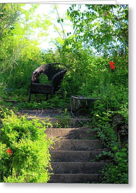 Resting Spot Greeting Cards - In The Garden Greeting Card by Teresa Mucha