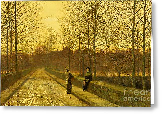 English Greeting Cards - In the Golden Gloaming Greeting Card by John Atkinson Grimshaw