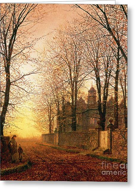 Autumnal Greeting Cards - In the Golden Olden Time Greeting Card by John Atkinson Grimshaw