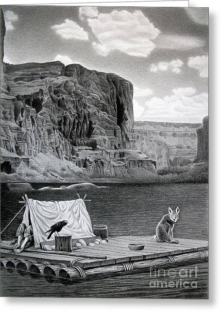Huckleberry Drawings Greeting Cards - In the Grand Canyon Greeting Card by Miro Gradinscak