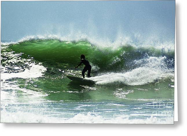Surfing Photos Greeting Cards - In The Green Water 1 Greeting Card by Joe Geraci