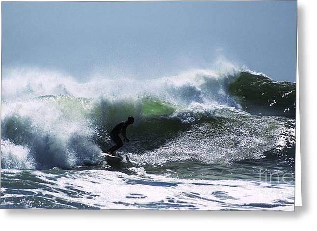Surfing Photos Greeting Cards - In The Green Water 2 Greeting Card by Joe Geraci