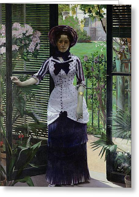 Full-length Portrait Paintings Greeting Cards - In the Greenhouse Greeting Card by Albert Bartholome