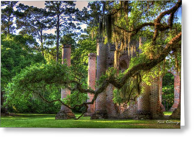 In The Light Spanish Moss Old Sheldon Church Ruins Greeting Card by Reid Callaway