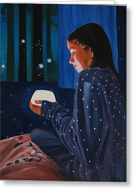 Night Lamp Greeting Cards - In the Light Greeting Card by Veronica Maldonado