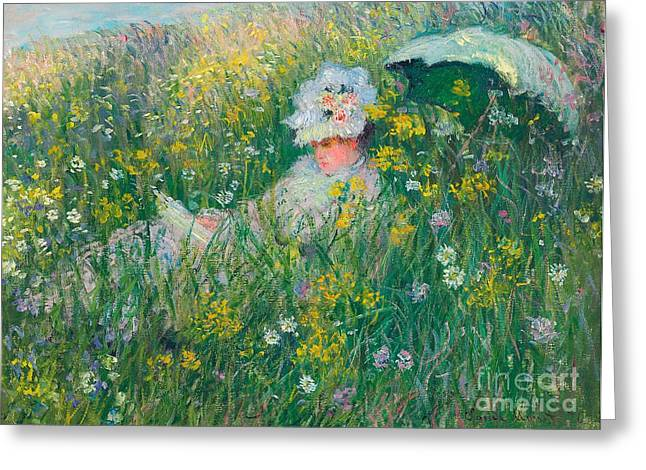 Recently Sold -  - Sit-ins Greeting Cards - In the Meadow Greeting Card by Claude Monet