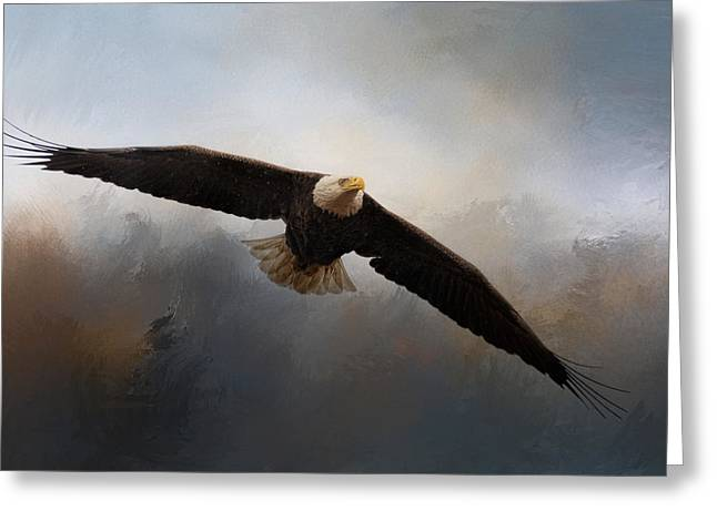 Eagles In Flight Greeting Cards - In The Midst Of The Storm Greeting Card by Jai Johnson