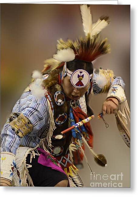 Fancy-dancer Greeting Cards - Pow Wow In The Moment Greeting Card by Bob Christopher