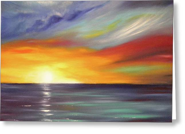 In The Moment Square Sunset Greeting Card by Gina De Gorna