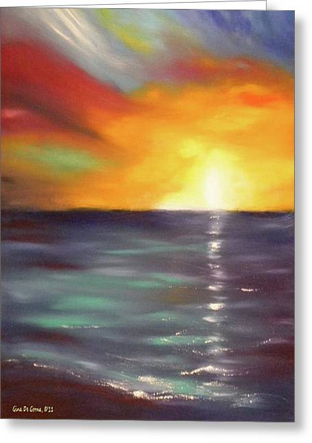 Sunset Posters Greeting Cards - In the Moment - Vertical Sunset Greeting Card by Gina De Gorna