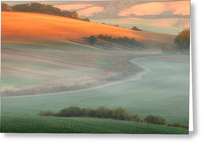 Moravia Greeting Cards - In The Morning Mist Greeting Card by Piotr Krol (bax)