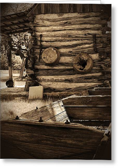 Log Cabins Greeting Cards - In The Olden Days Greeting Card by Karen Musick