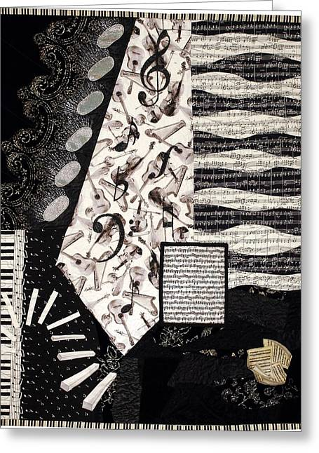 Fabric Quilt Tapestries - Textiles Greeting Cards - In the Pits Greeting Card by Loretta Alvarado